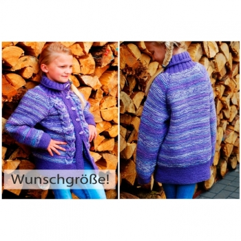 Cardigan Girls Gr.128-134 Handknitted Jacket Cardigan Traditional Jacket Drops Winter Jacket Wool Pullover Dirndl Girls Jacket chunky knit