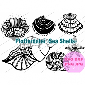 "Plotter plotter plotter ""sea shells"" instant download svg png jpg dxf starfish shells mandala maritime clipart vector graphics"
