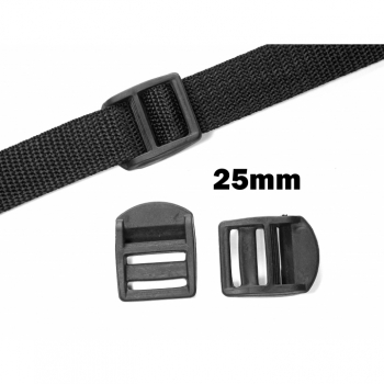 Stopper 25mm black slider regulator black plastic bag sewing backpack sewing haberdashery webbing strap stopper