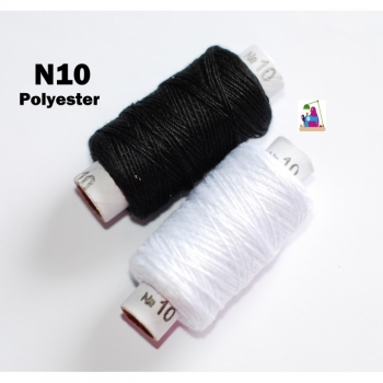 Sewing thread N10 black white polyester 200 yard thread extra strong good quality, sew, exchange, repair