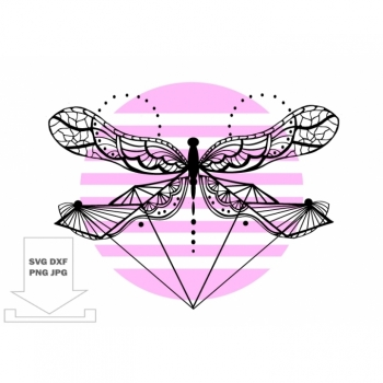 Dragonfly SVG, Mandala SVG, zentangle svg