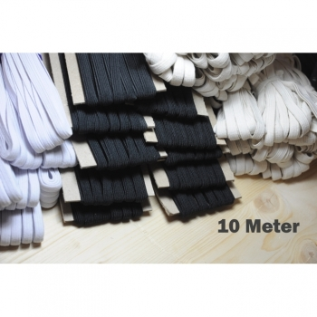 10m elastic band elastic braid 8mm black white natural