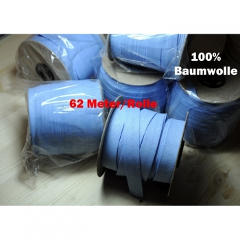 Piping tape cotton 20mm roll 62m in light blue basic price 0.70 euro / 1m