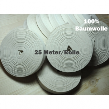 Piping tape 20mm cotton 25m / 1roll base price 0.65euro / 1m natural beige