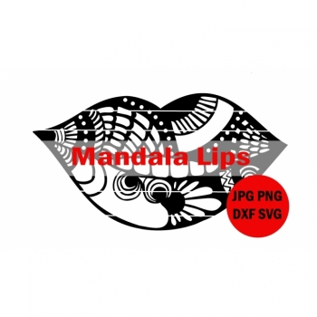 Mandala Lips SVG DXF PNG plotter file plotter template zentangle svg svg files for cricut mandala cut file plotting T-shirts bag diy project