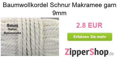 Kordeln Kordel (Meterware): Baumwollkordel Schnur Dekoband Durchmesser 9 mm, Farbe naturbeige perfekt für Jacken Kaputzen, Turnbeutel, Hoodies uvm.